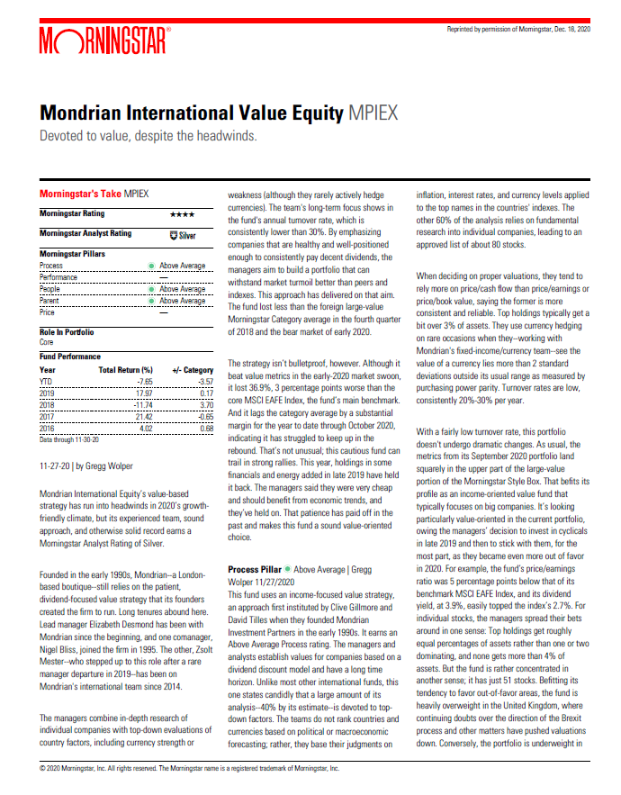 Morningstar report mondrian international value equity fund devoted to value, despite the headwind